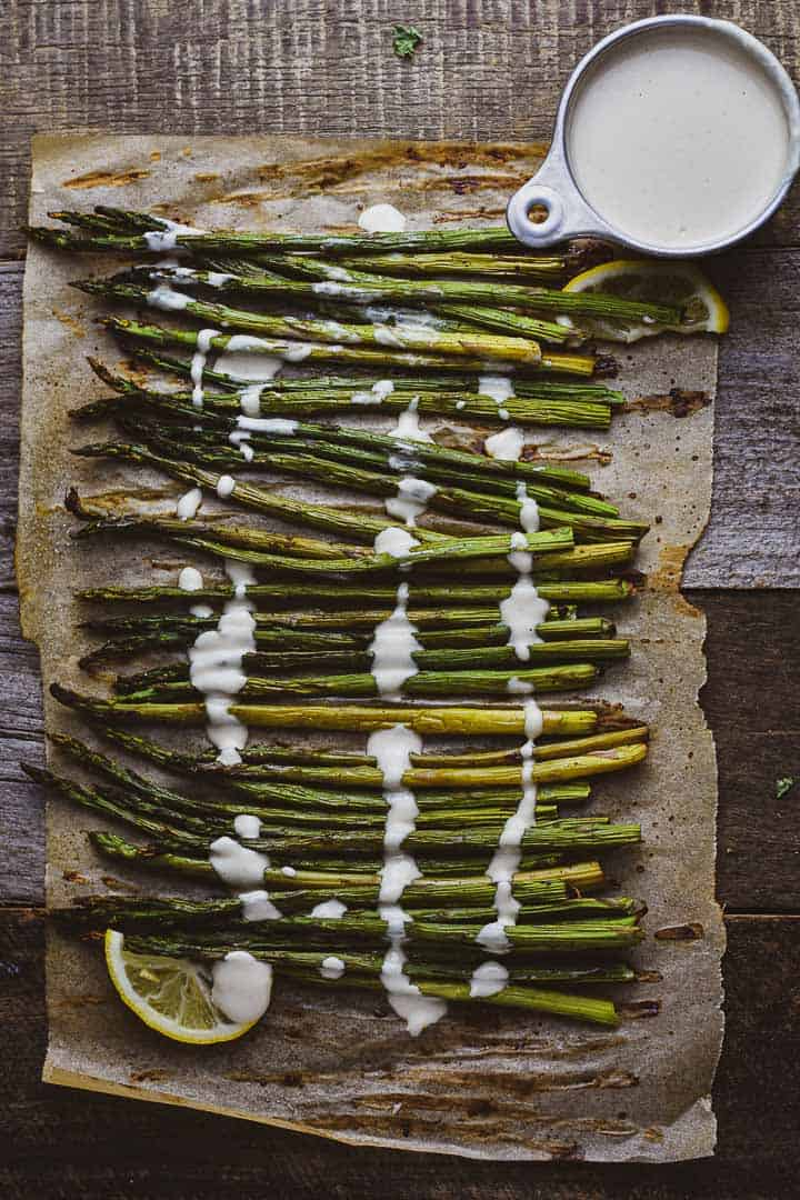 Oven Roasted Asparagus With Tahini Sauce
