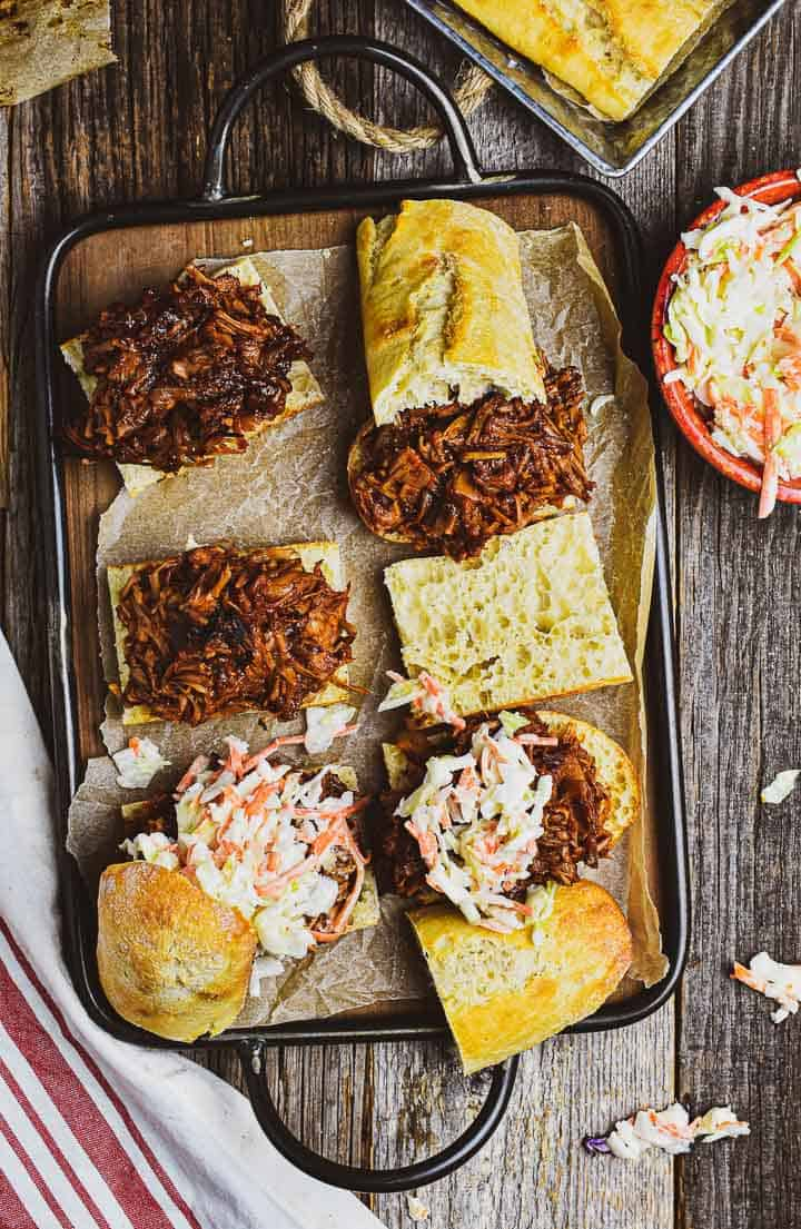 Tray of vegan pulled pork sandwiches.