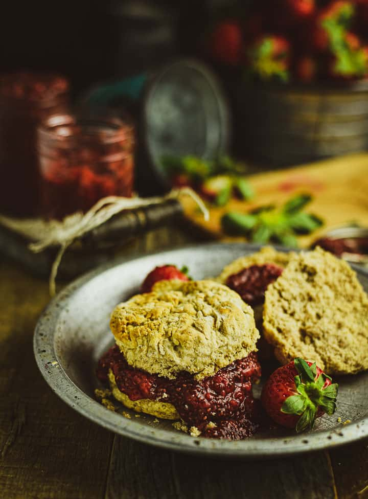 Strawberry chia jam on homemade biscuits.