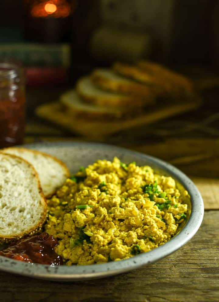 Tofu Scramble in plate with toast.