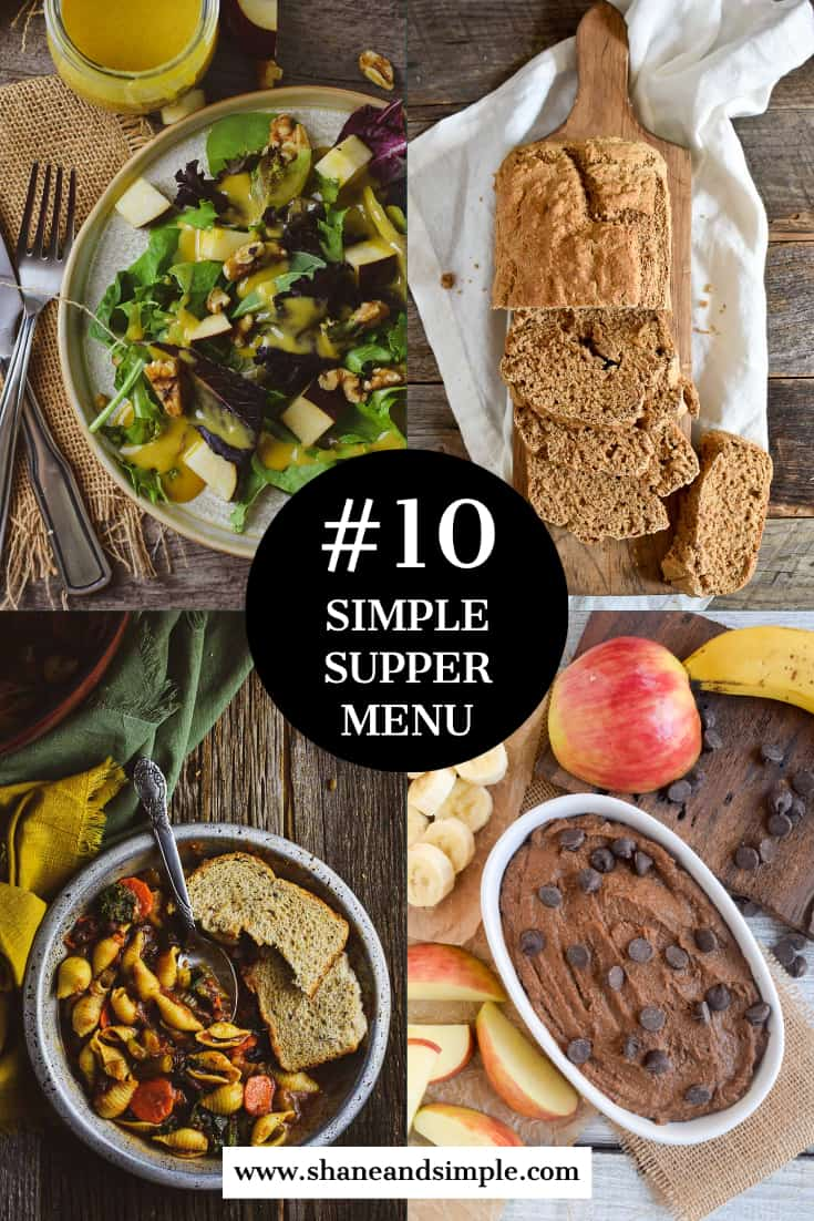 Simple Supper menu #10 pinterest banner with minestrone.