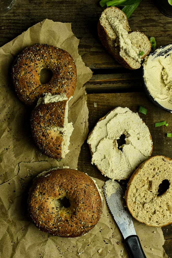 Bagels with vegan cream cheese.
