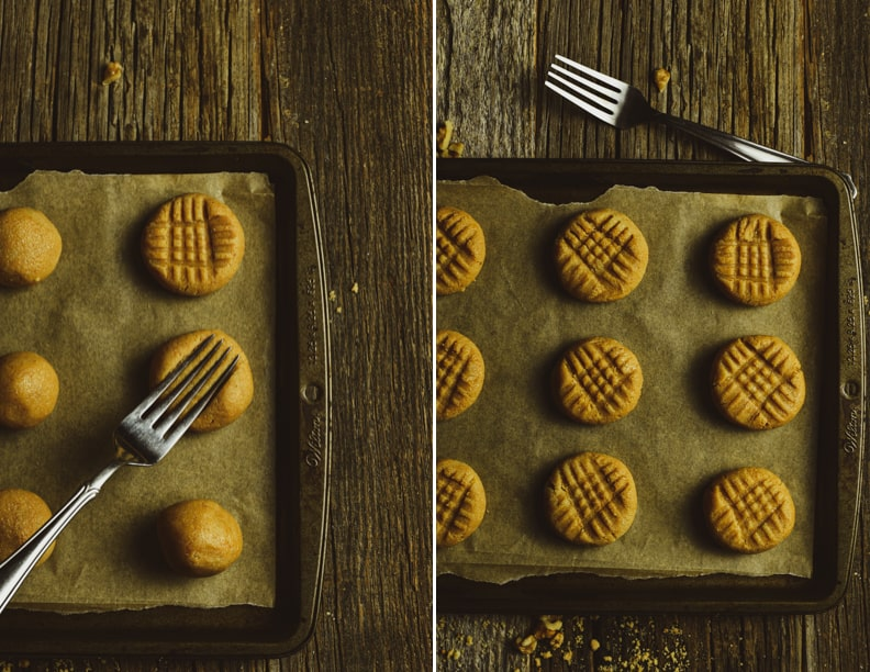 Peanut butter cookie dough with crisscross patterns.