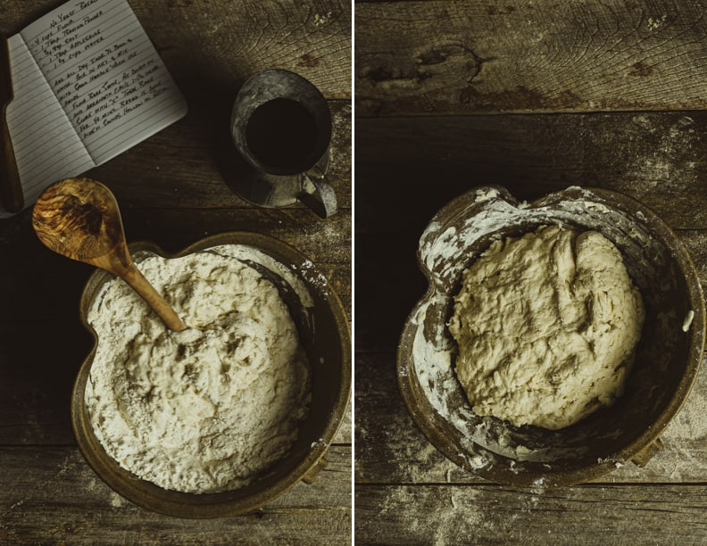 Two bowls of bread dough.