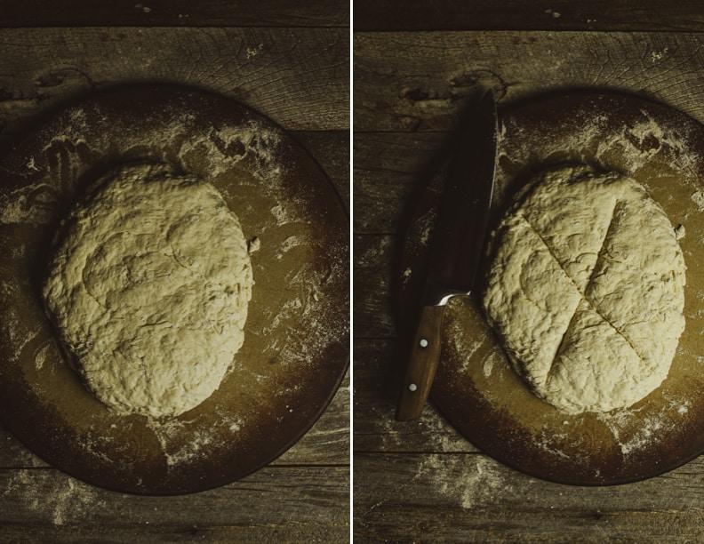 Bread dough on baking stones.