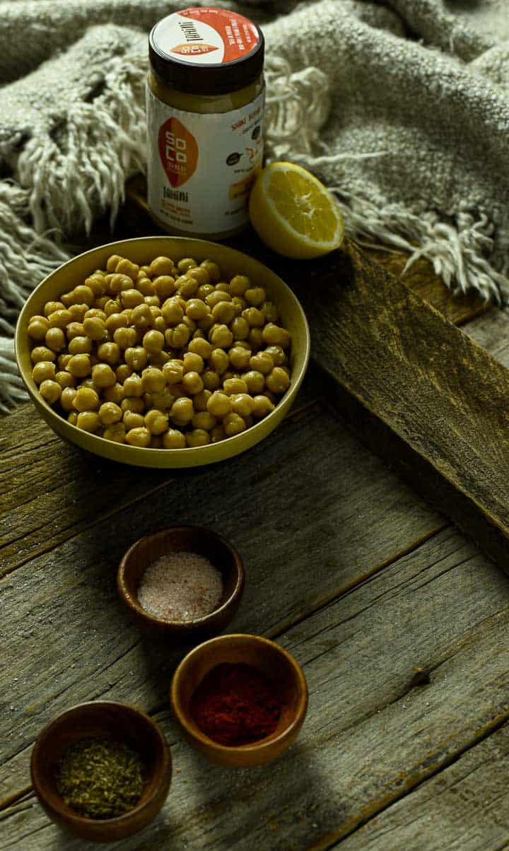 chickpeas and spices on table