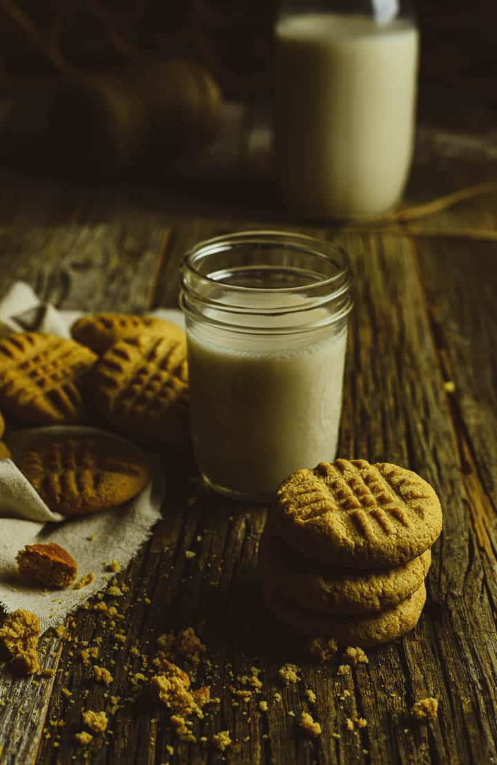 peanut butter cookies and a glass of milk.