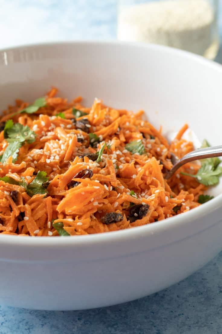 Carrot Salad with Tahini-Sriracha Dressing