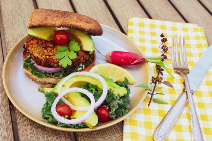 Spicy Sorghum Sweet Potato Veggie Burgers (Vegan, Gluten-free) - The Plant Powered Dietitian