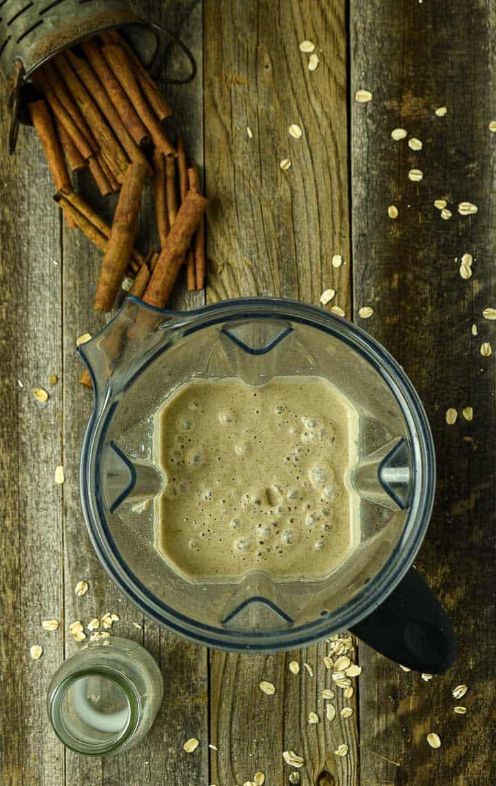 Pancake batter in blender.
