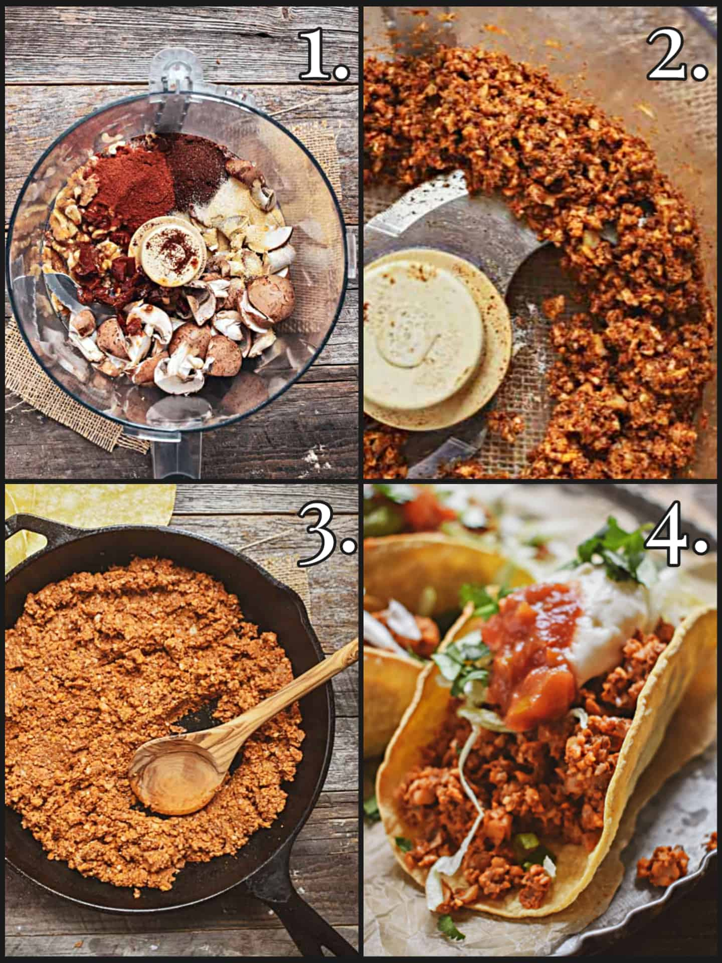 Vegan taco meat process.