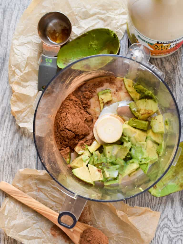 avocado and cocoa in food processor