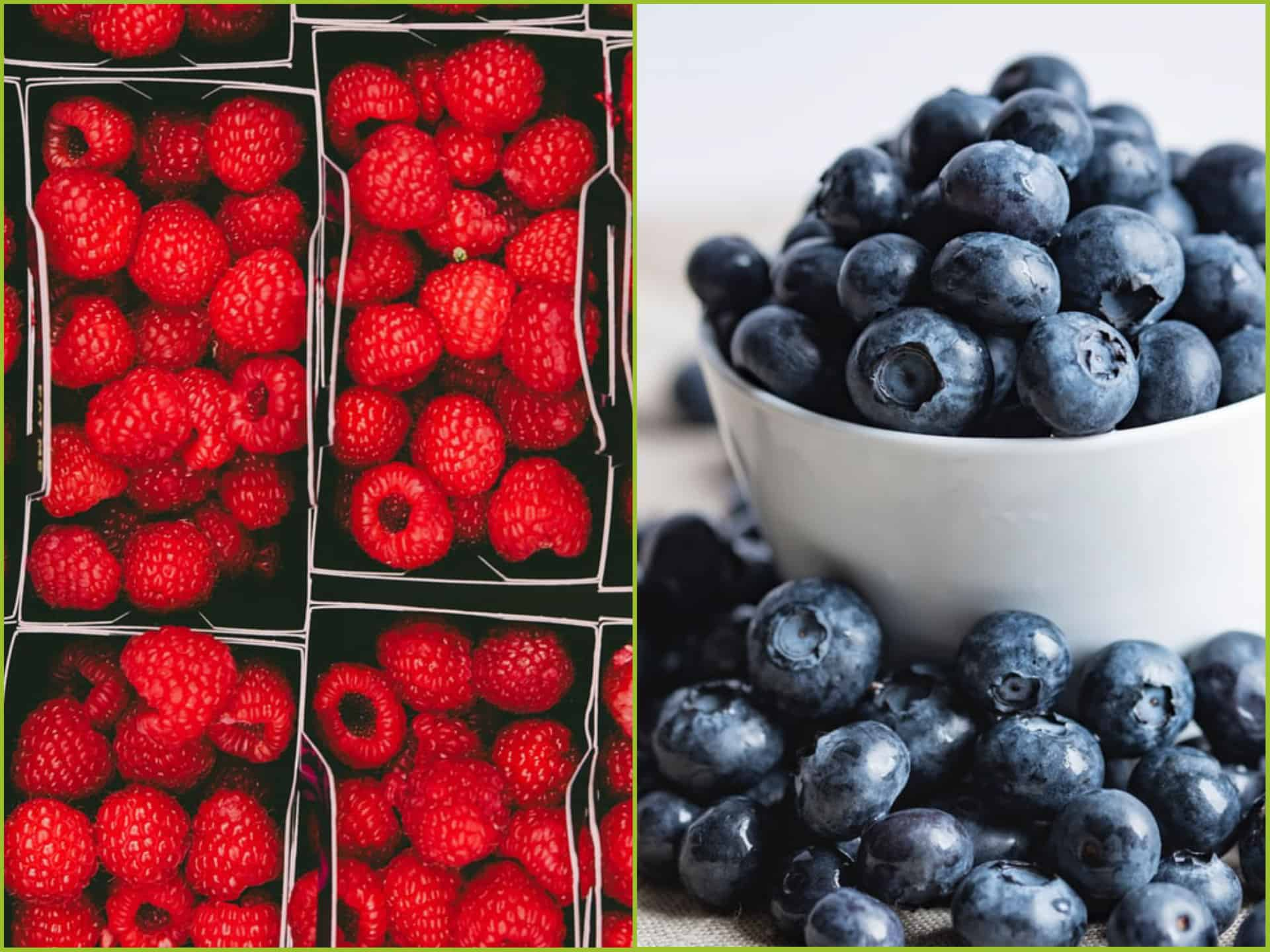 Raspberries and blueberries.