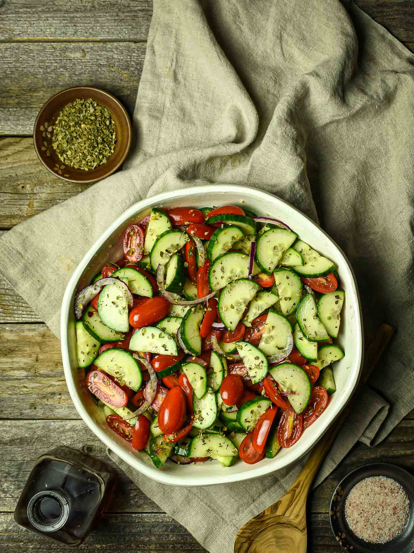 Tomato Cucumber salad in large bowl.