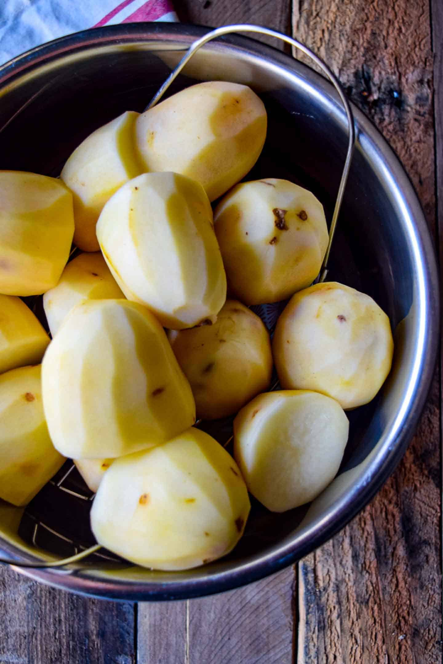 Uncooked potatoes in an Instant Pot.