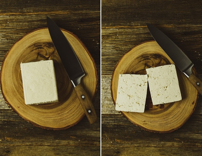 Tofu on cutting board.