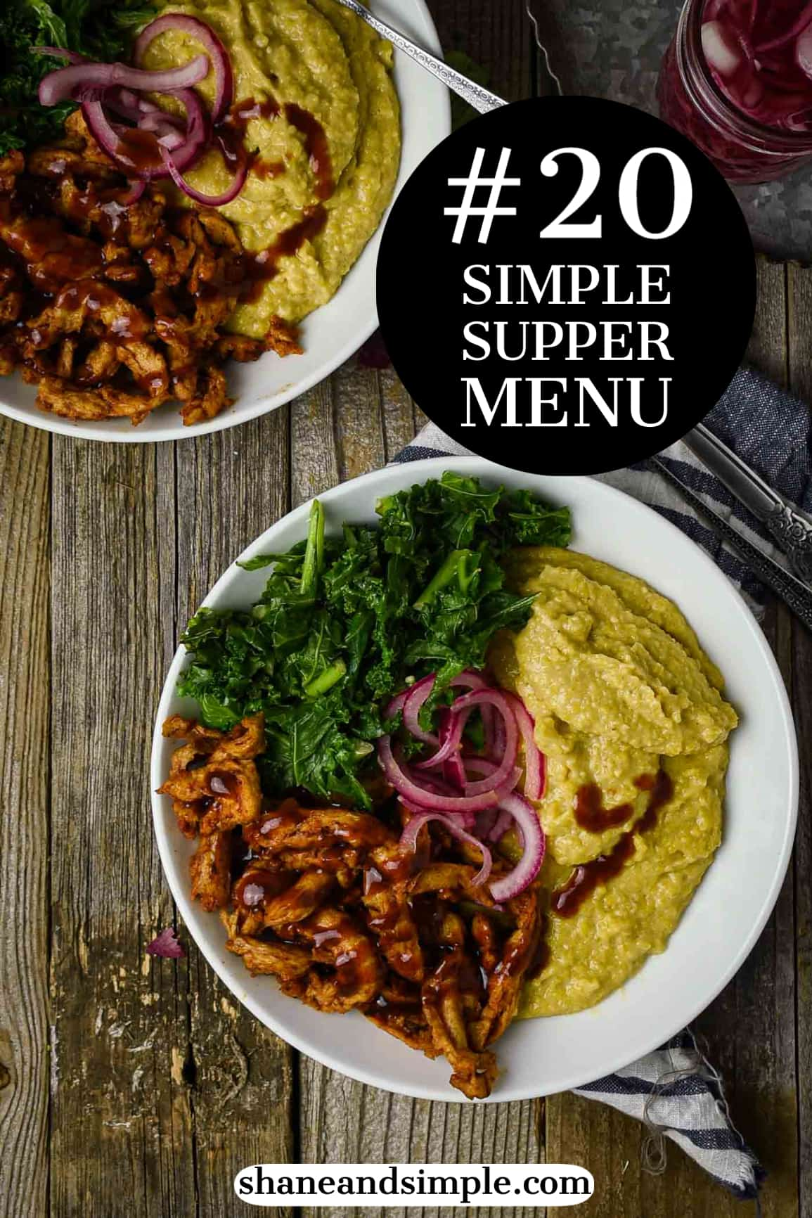 Simple Supper Menu #20 is all about satisfaction, comfort, and flavor. And, it's all in ONE BOWL! This Vegan Grits Bowl with BBQ Soy Curls and Kale is healthy, plant-based, and perfect for an easy midweek meal.