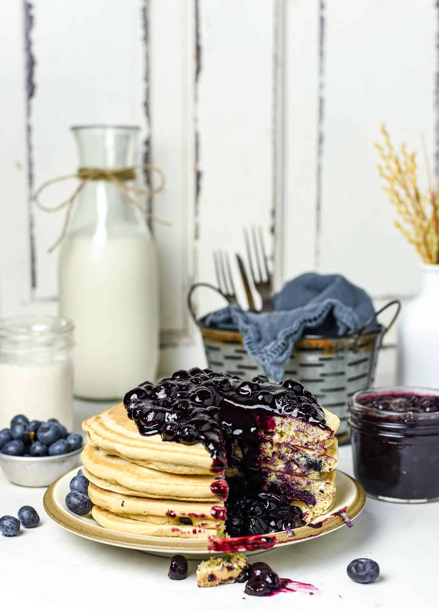 Enjoy this healthy Blueberry Compote on top of pancakes, waffles, fruit, or your favorite frozen dessert. It's so easy! All you need are 4 ingredients and less than 20 minutes to make this amazing blueberry sauce recipe.