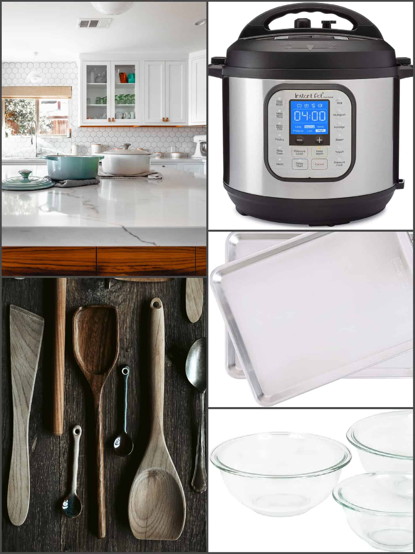 Pots, wooden cooking utensils, instant pot, baking sheets, and glass mixing bowls.