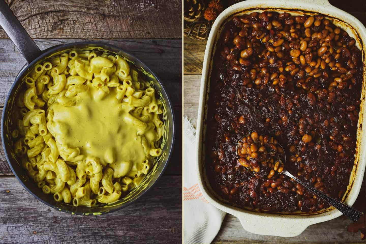 mac and cheese and baked beans