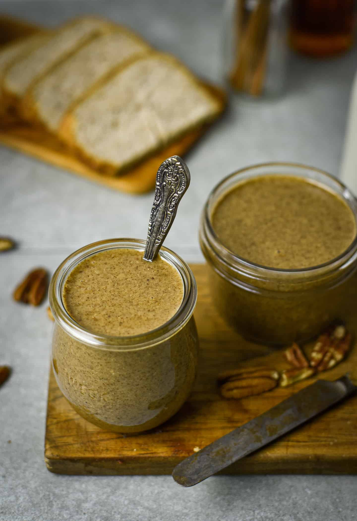Two jars of pecan butter.