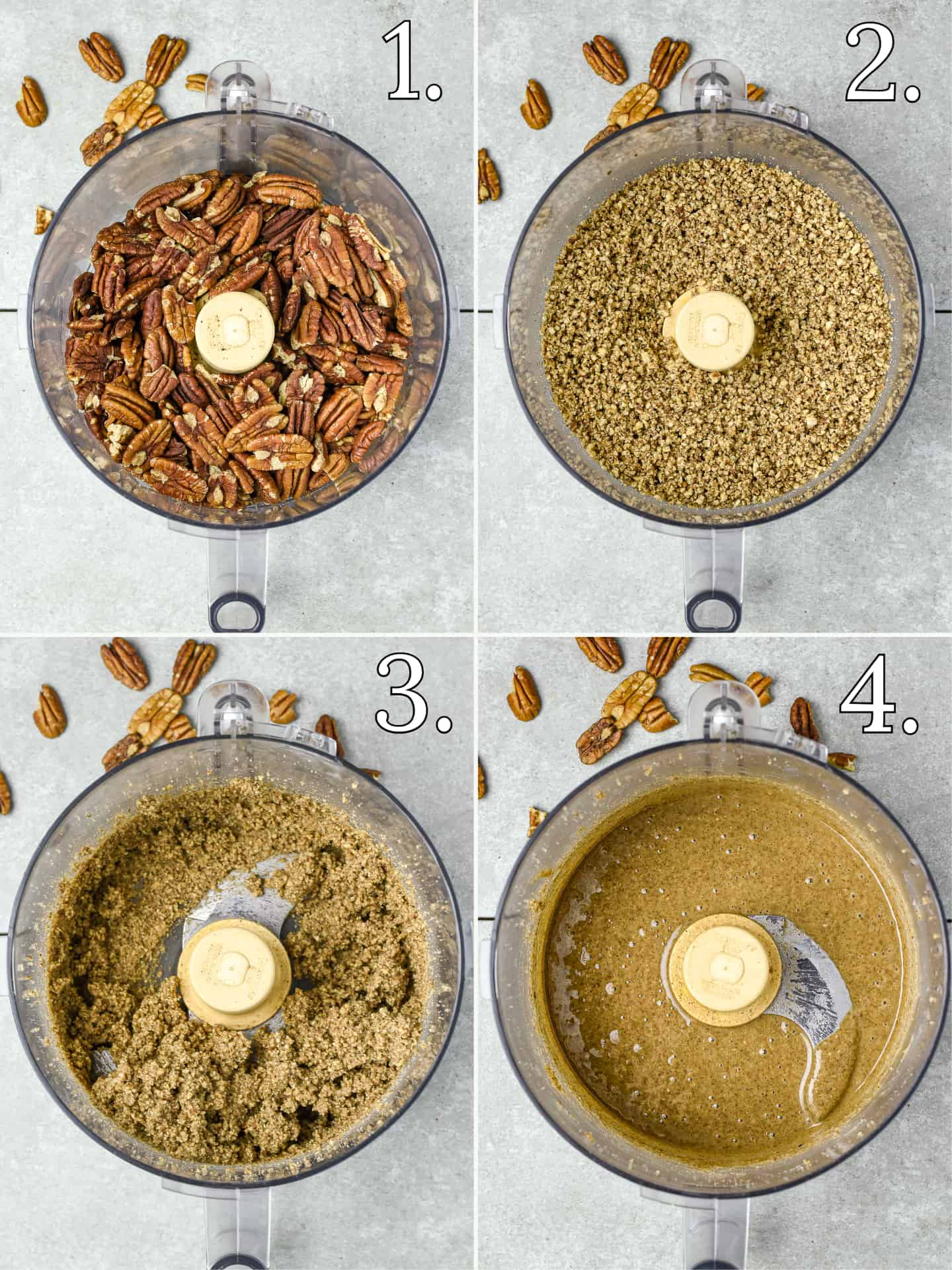 4 steps to making pecan butter in a food processor.