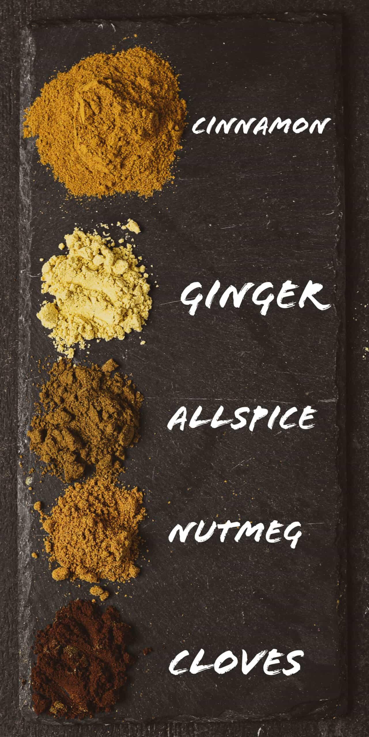 Ground cinnamon, ginger, allspice, nutmeg, and cloves on black slate.