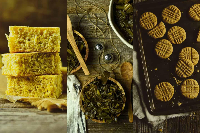cornbread, bowl of collard greens, and peanut butter cookies.