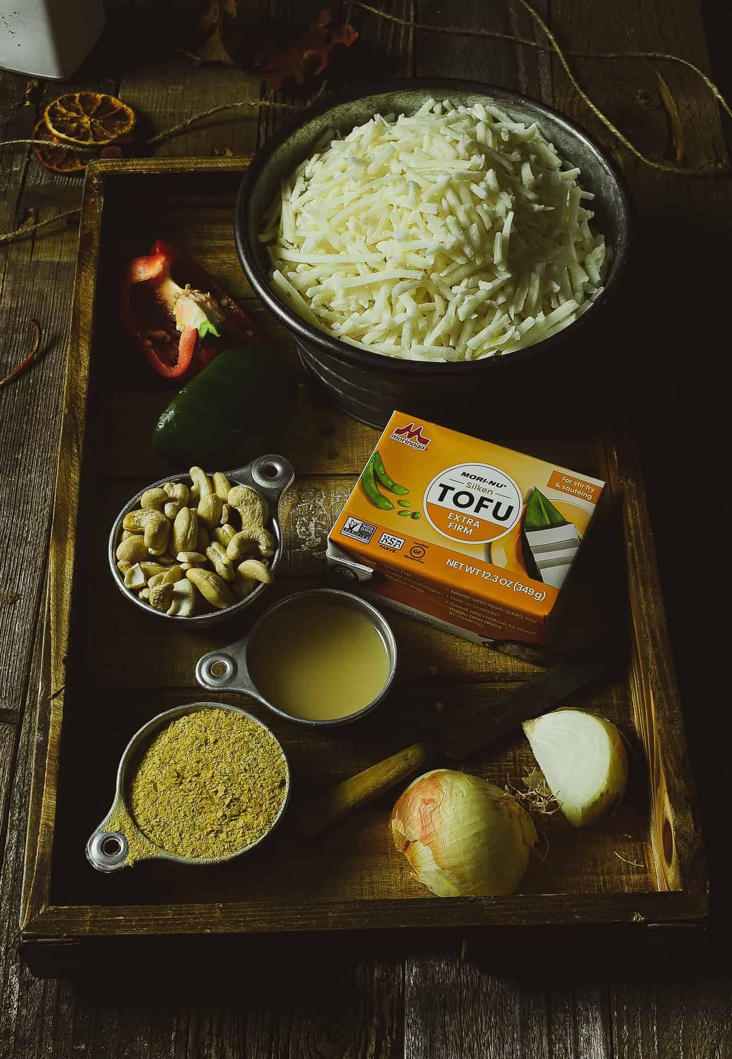 Breakfast casserole ingredients on a tray.