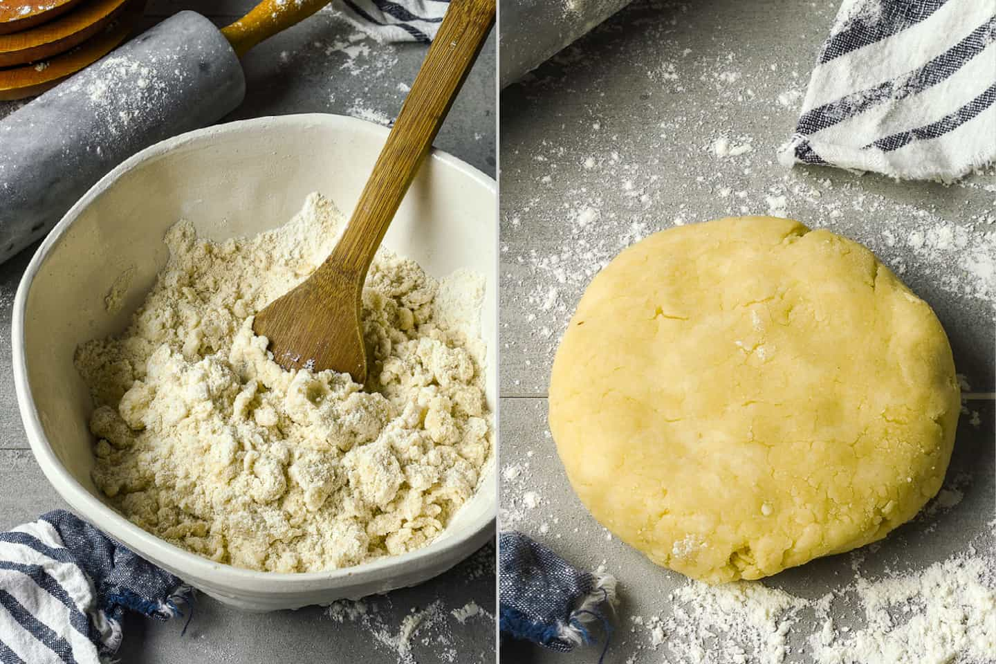 Pie curst mix and dough in side by side photo.