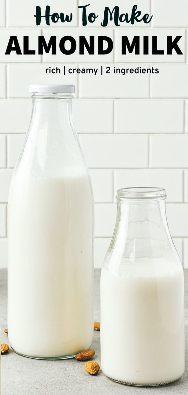 Long pinterest image of almond milk.