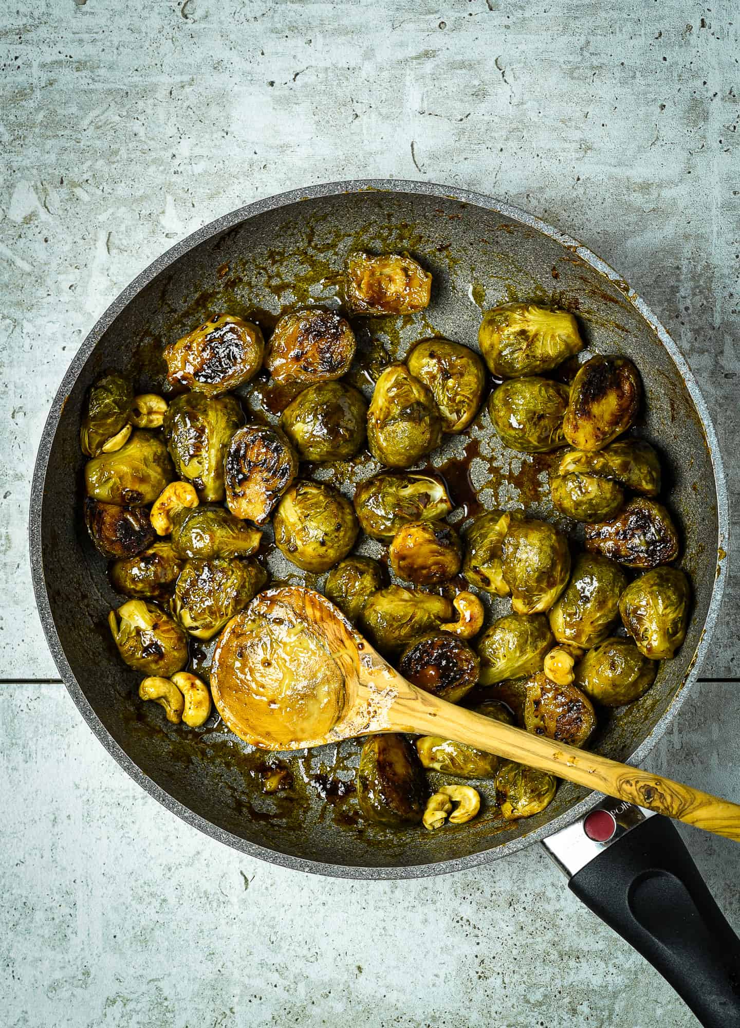 Pan of fried Brussels sprouts.