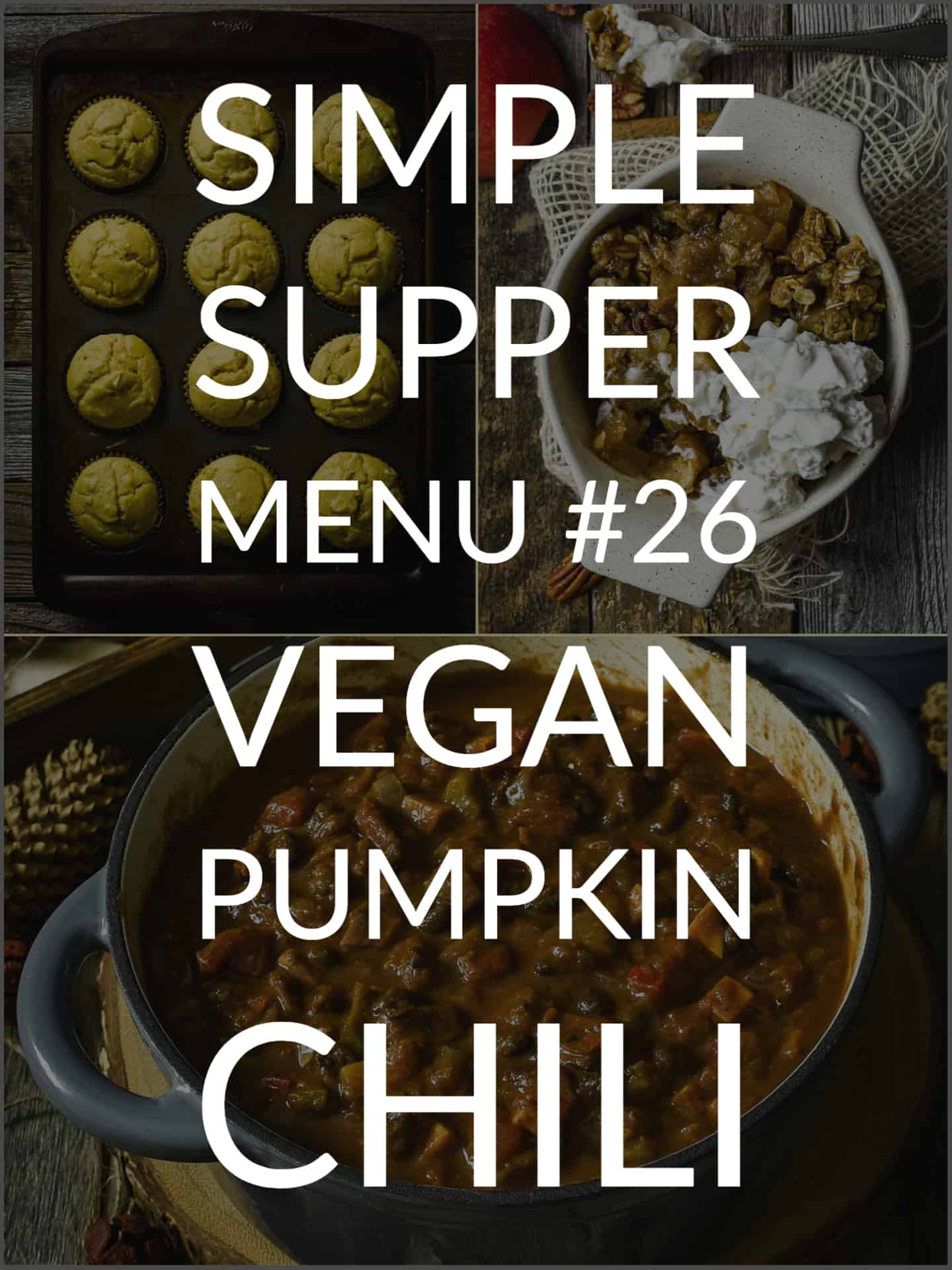 Simple Supper Menu banner with muffin, apple crisp, and pumpkin chili.
