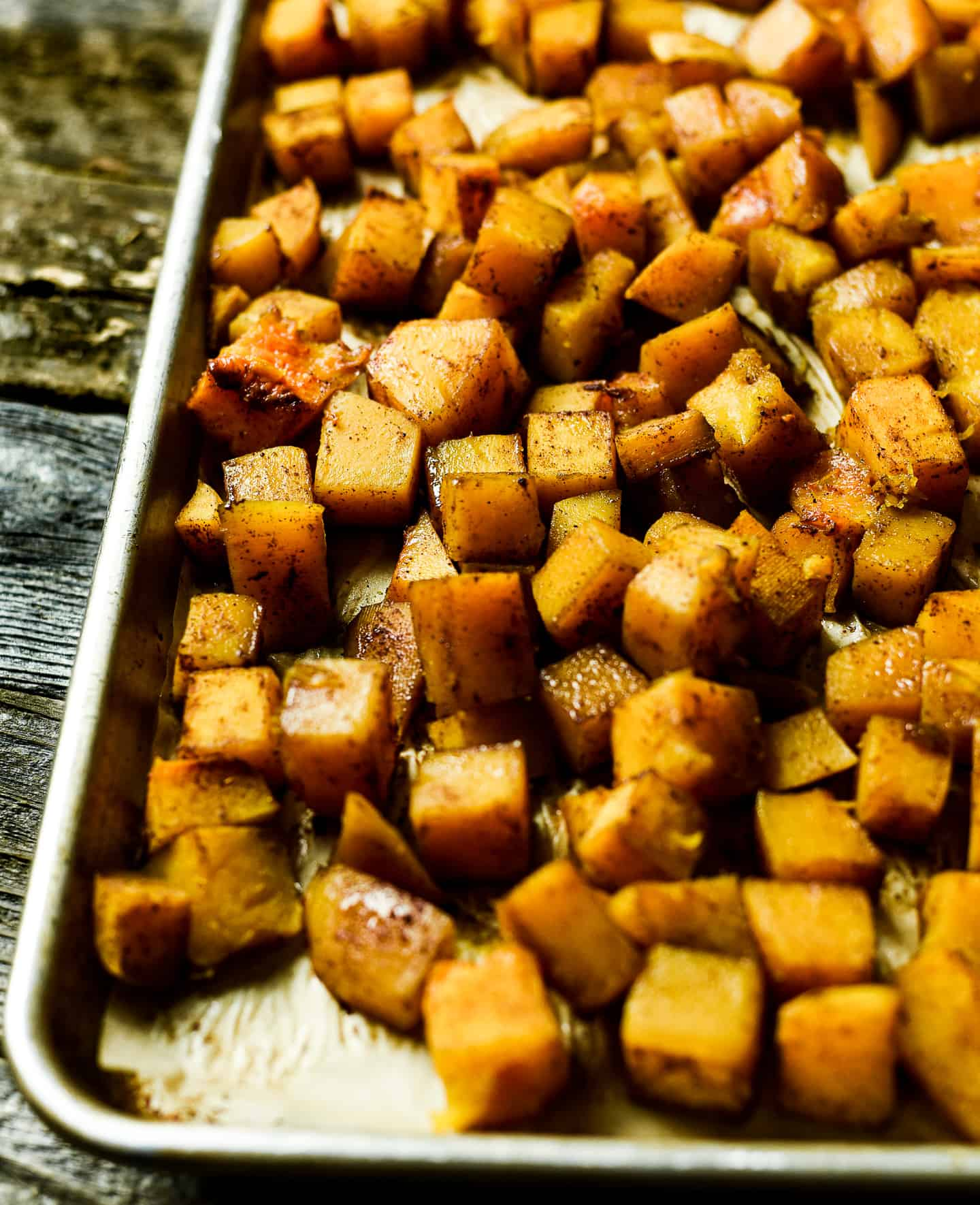 Roasted squash on baking sheet.