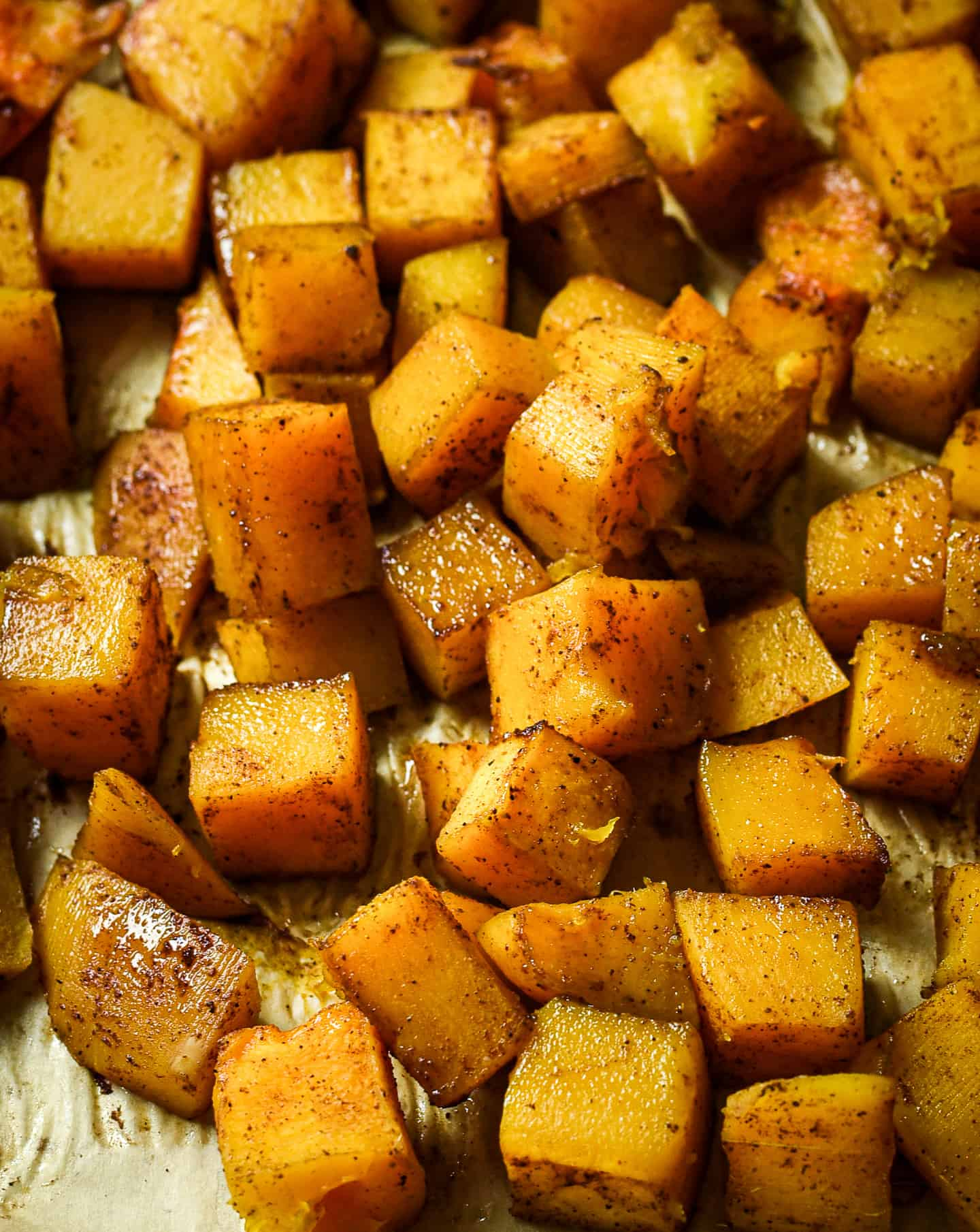 Roasted butternut squash cubes.