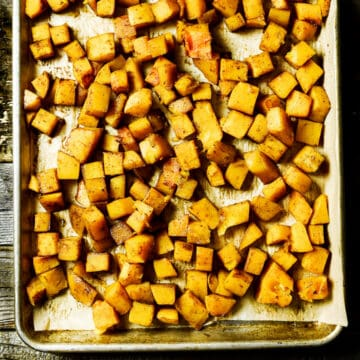 tray of roasted butternut squash