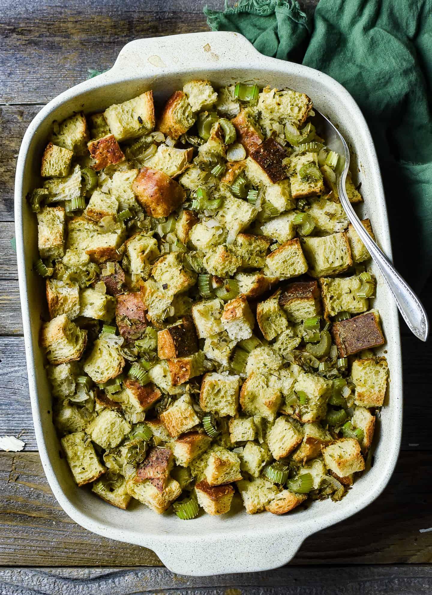 Easy vegan stuffing in baking dish.