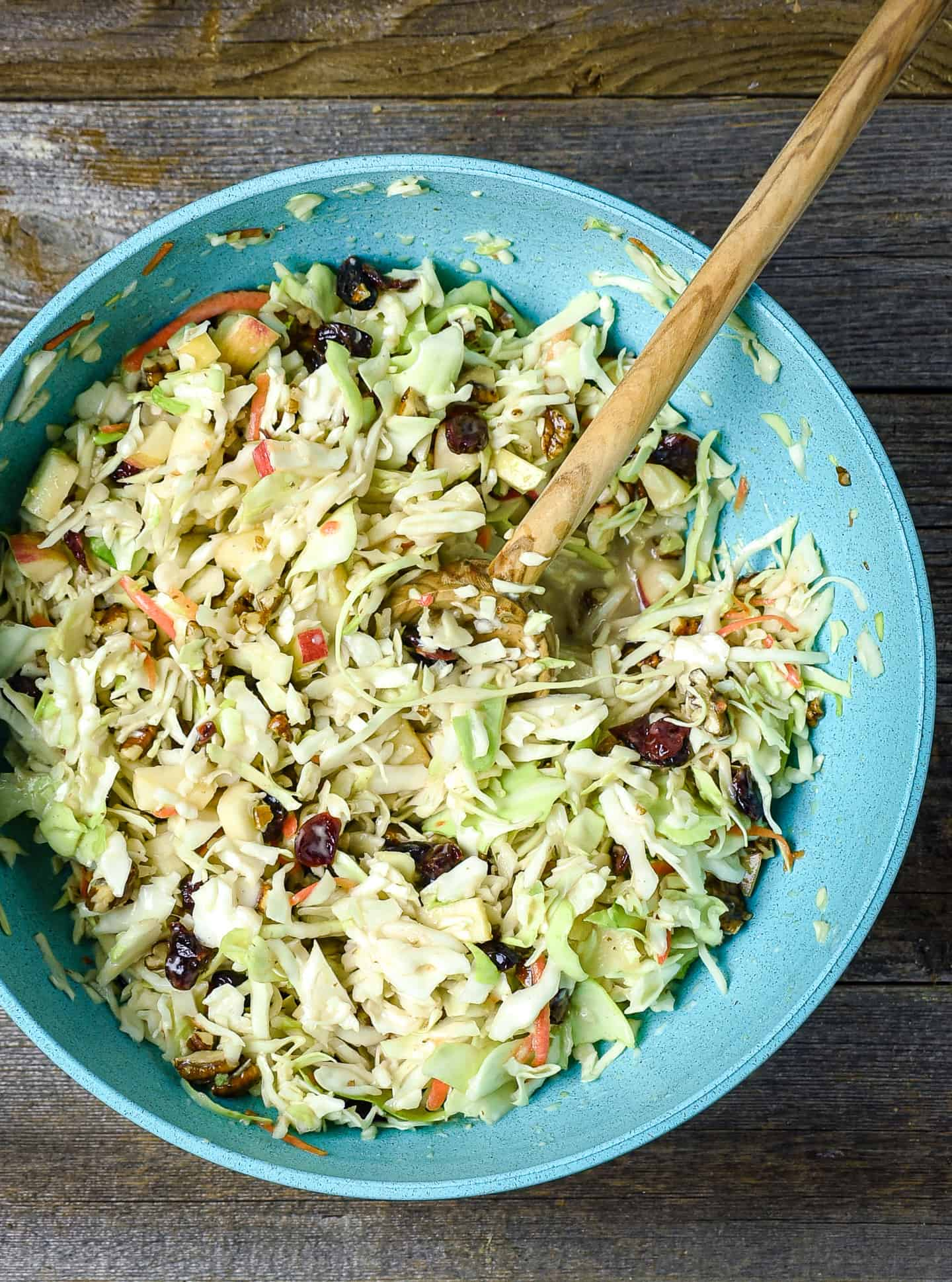 Coleslaw mixture in large bowl.