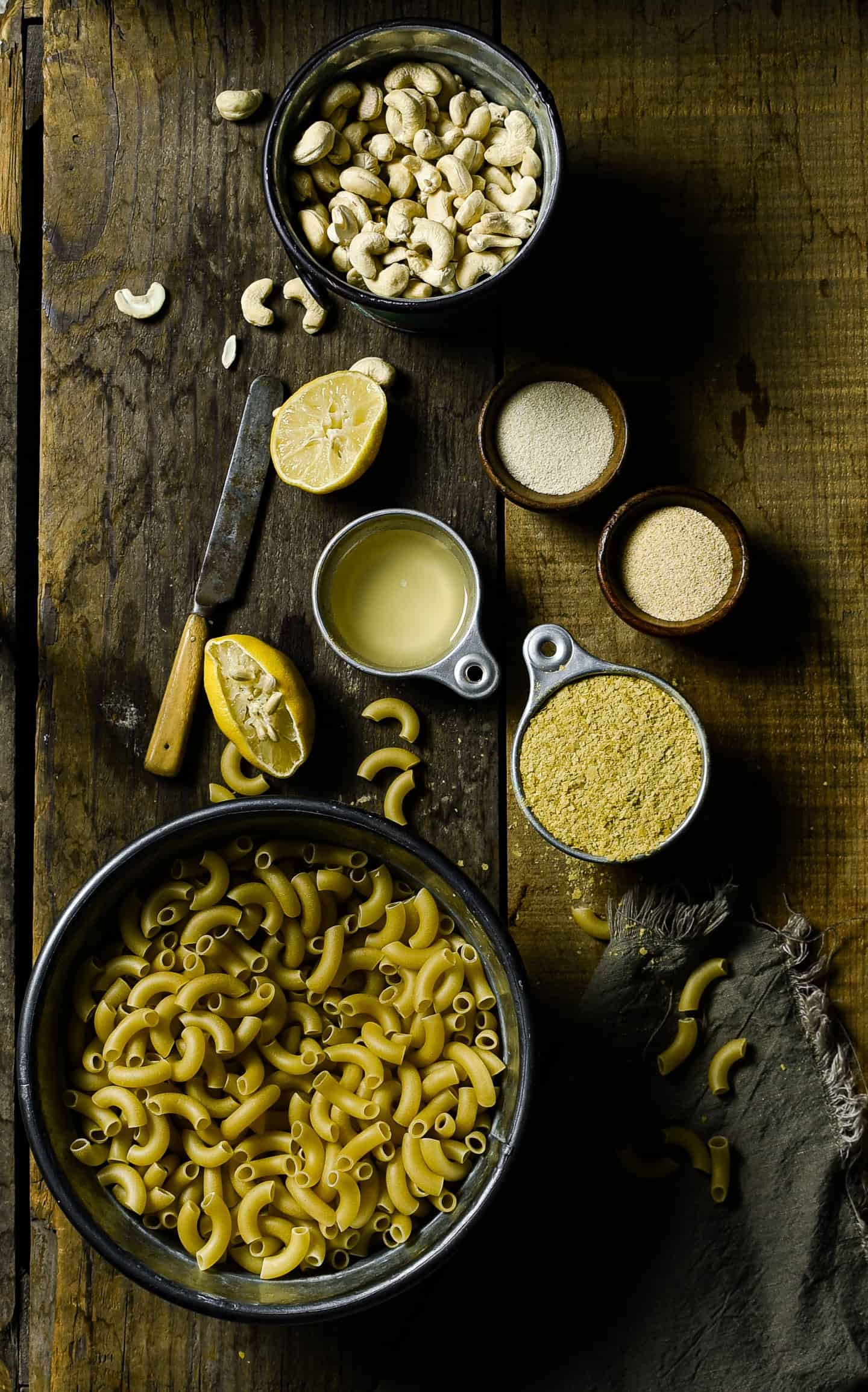 Macaroni and cheese ingredients.