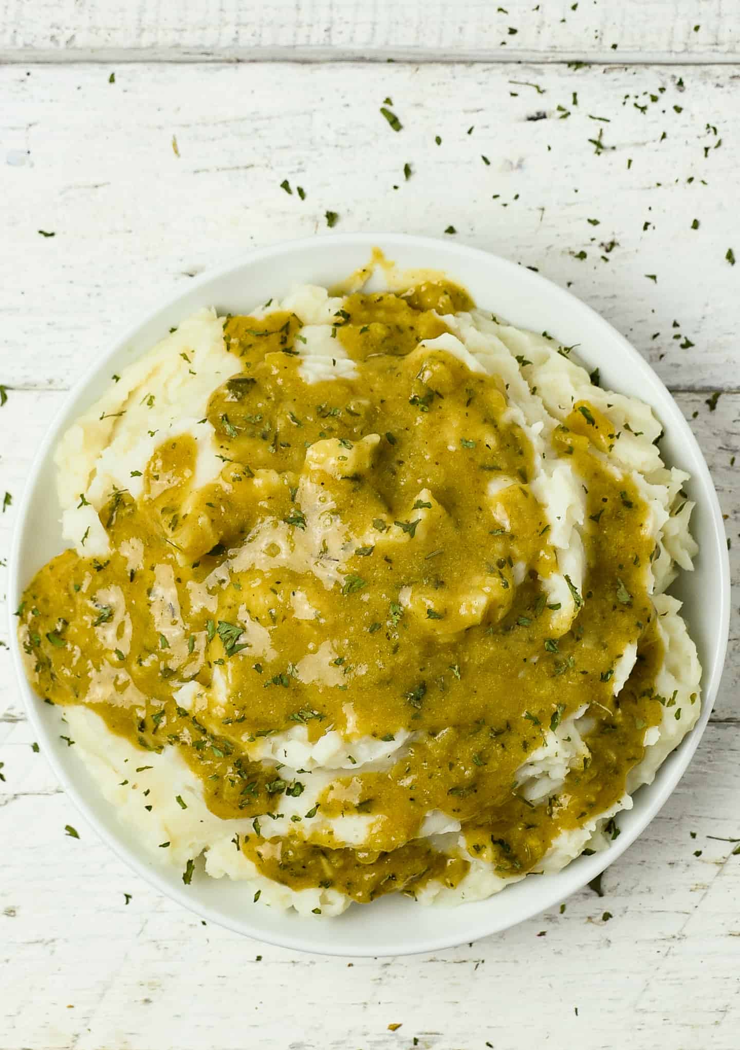 Vegan gravy over mashed potatoes.