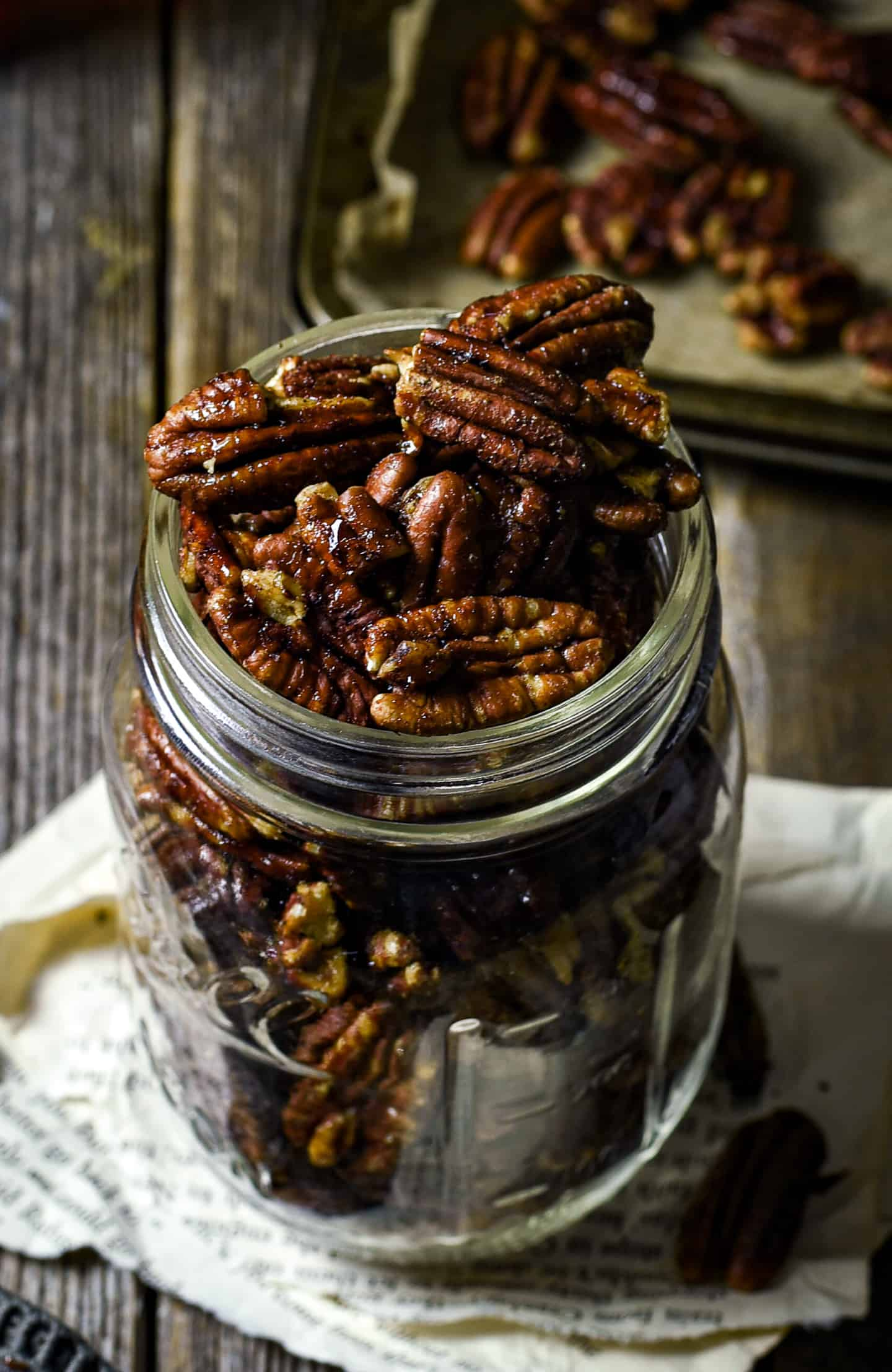 Candied pecans in glass.