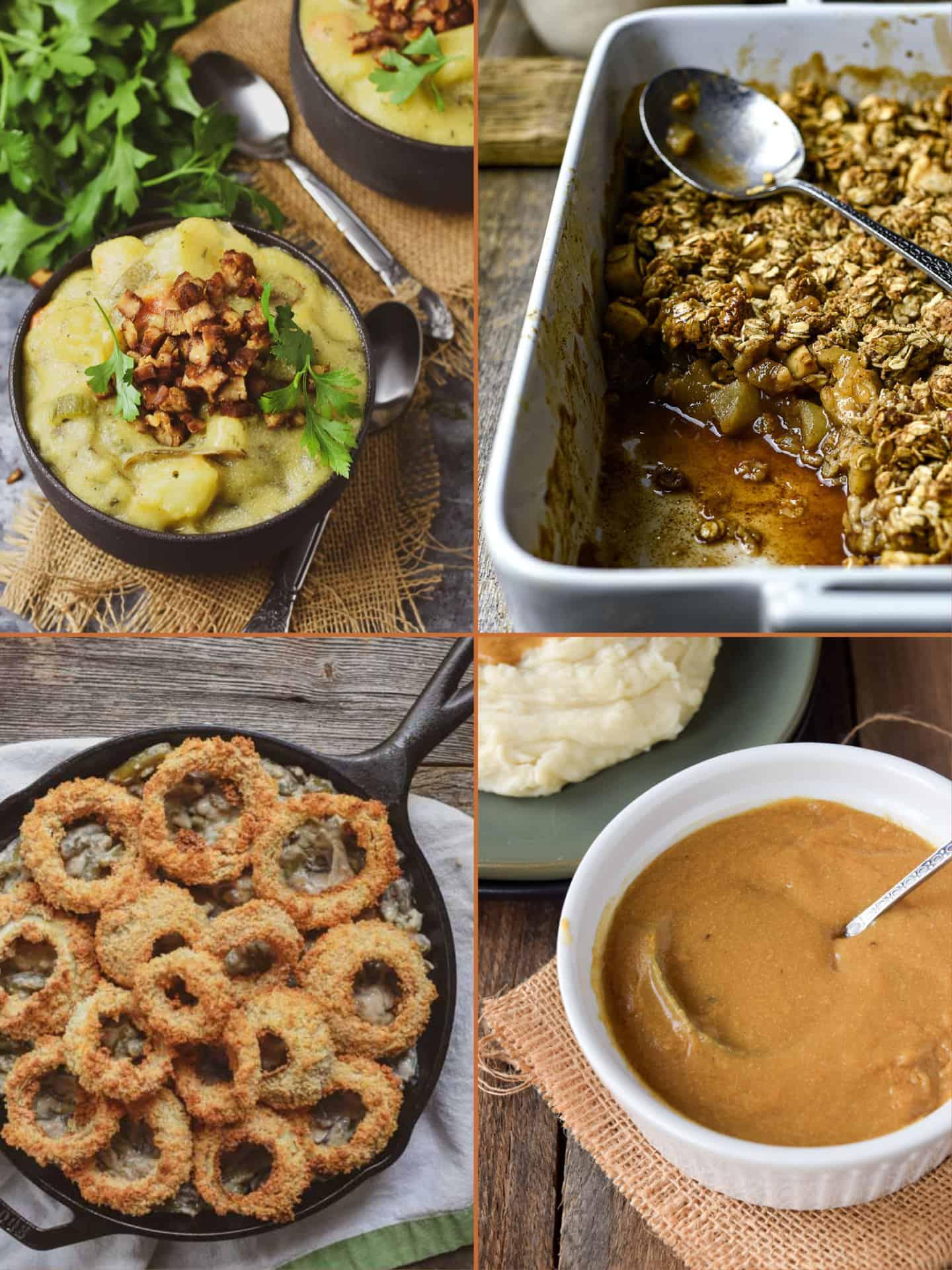Potato soup, apples crips, green bean casserole, and gravy picture.