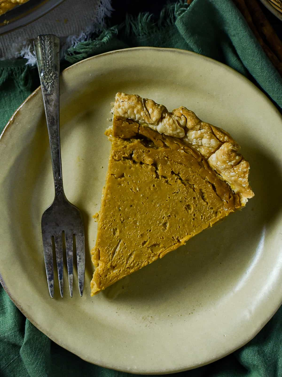 Slice of pie on a plate with fork.