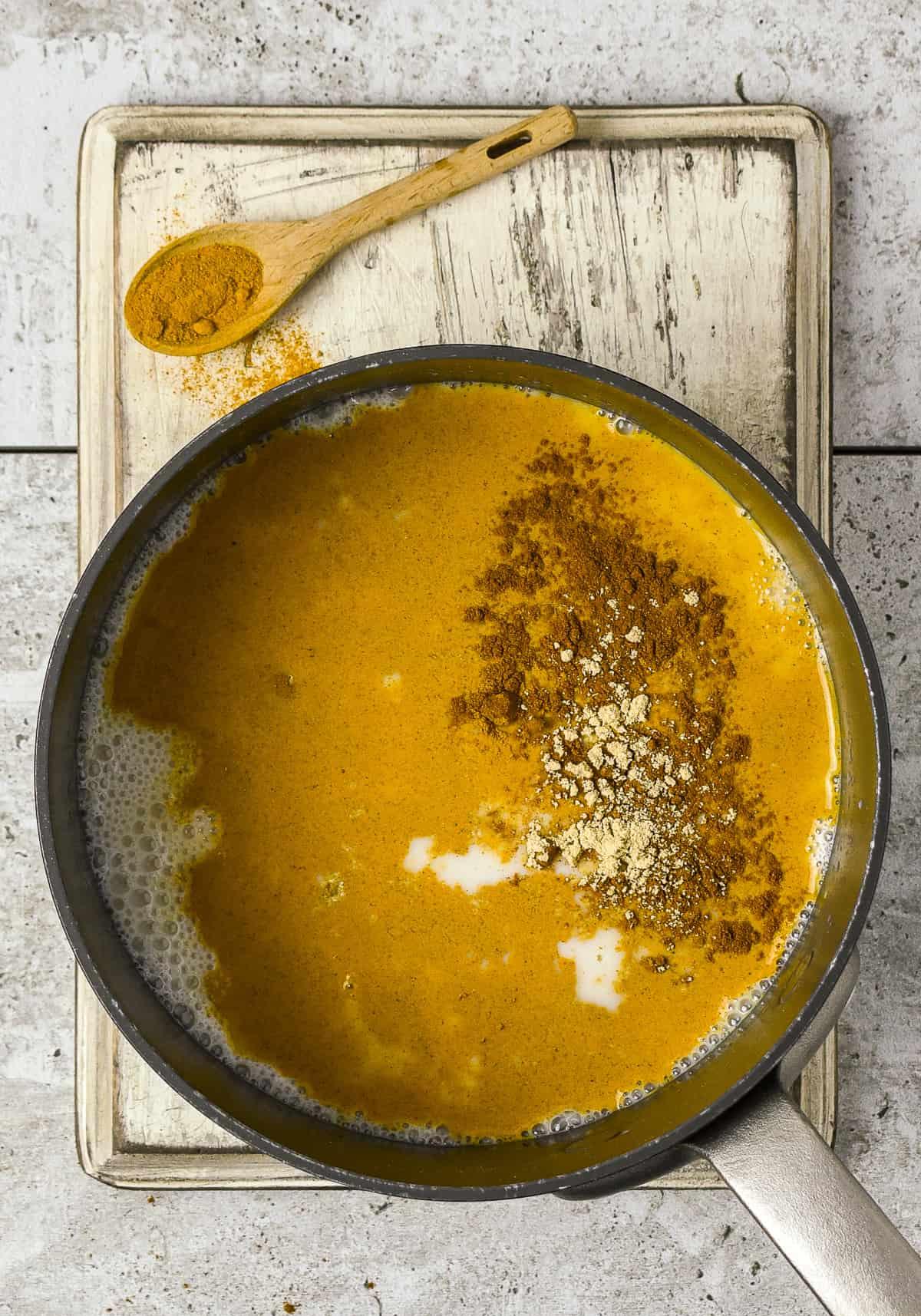 Turmeric ingredients in saucepan.