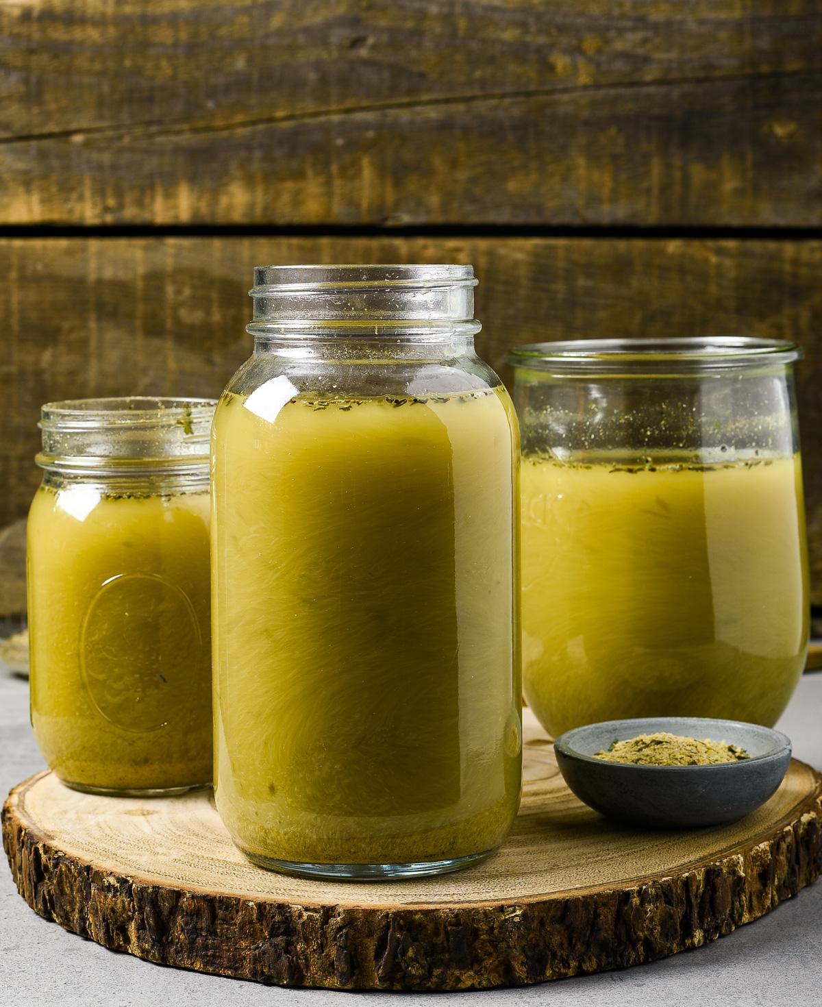 3 jars of homemade vegetable stock.
