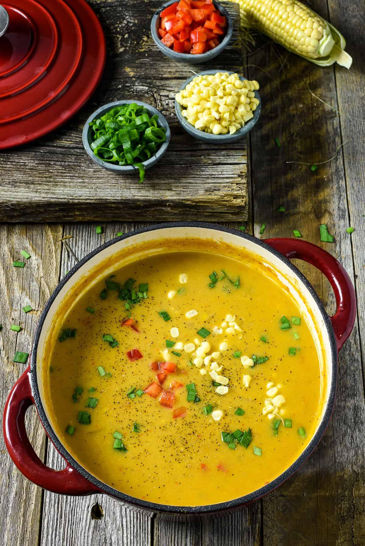 Pot of vegan corn chowder.