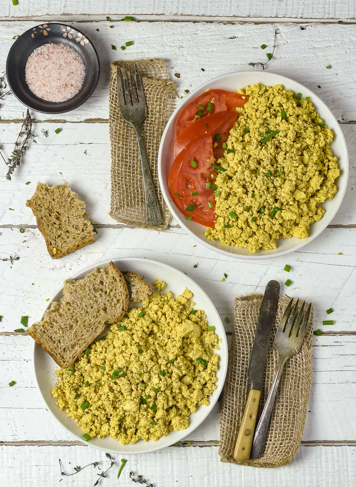 Two plates of tofu scramble.