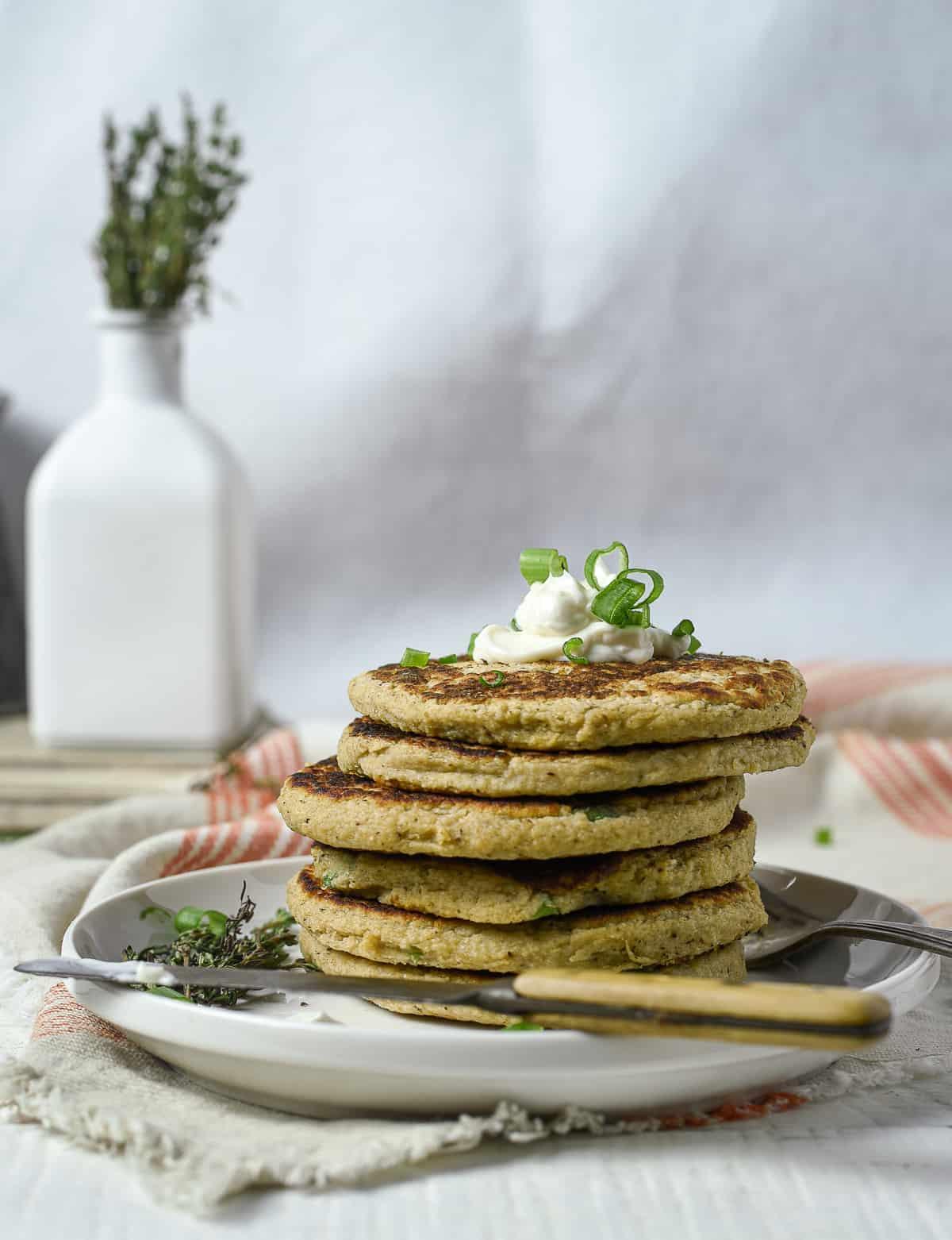Stack of vegan potato pancakes.