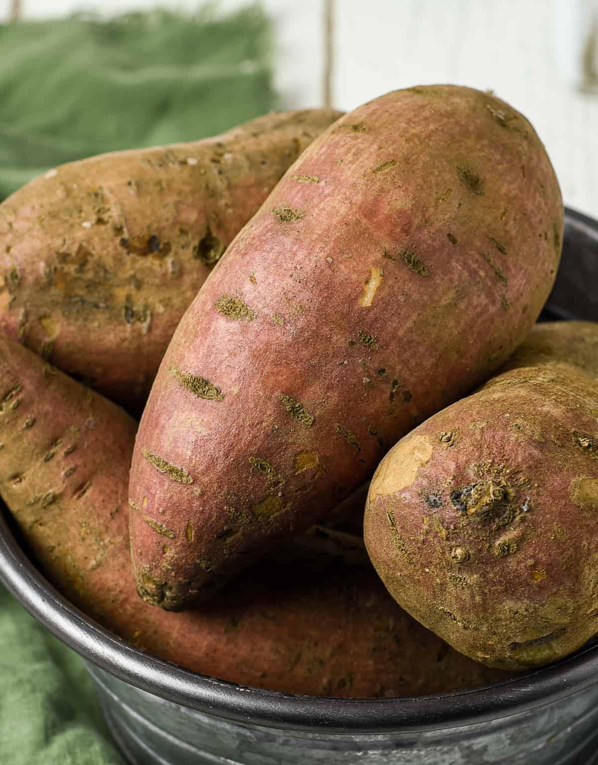 Sweet potatoes in a bucket.