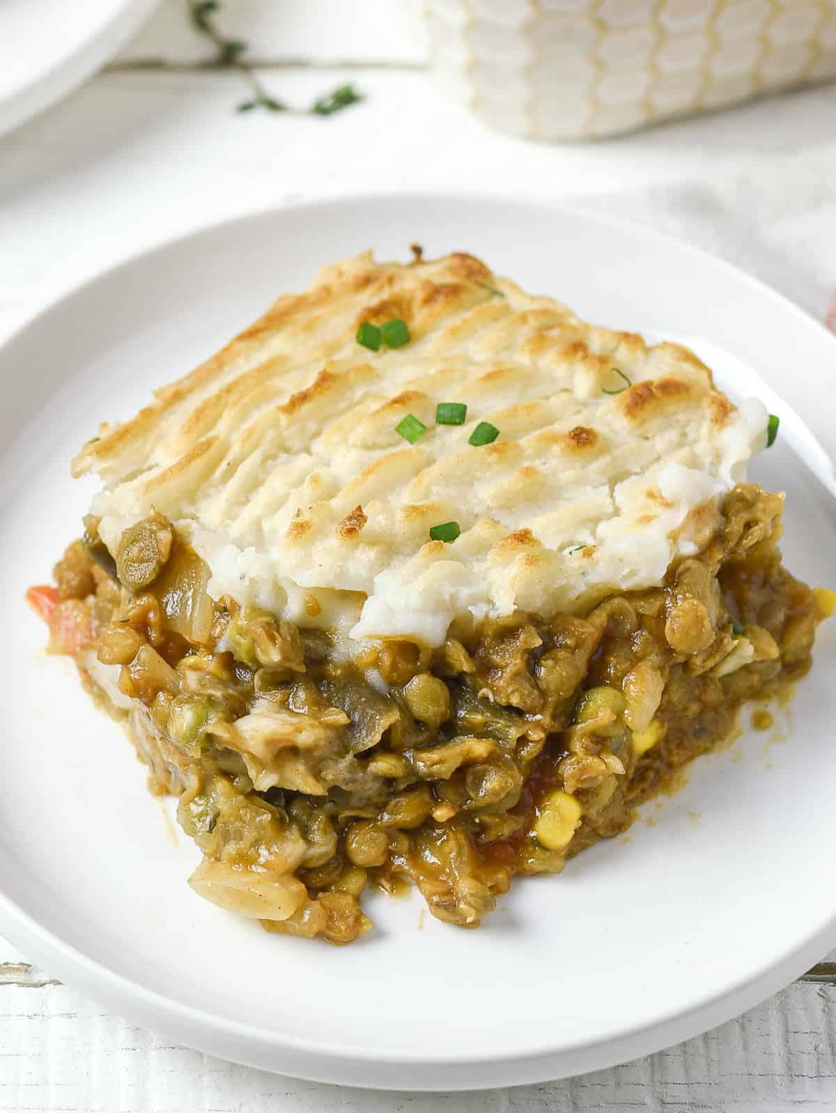 Vegan lentil shepherd's pie on plate.